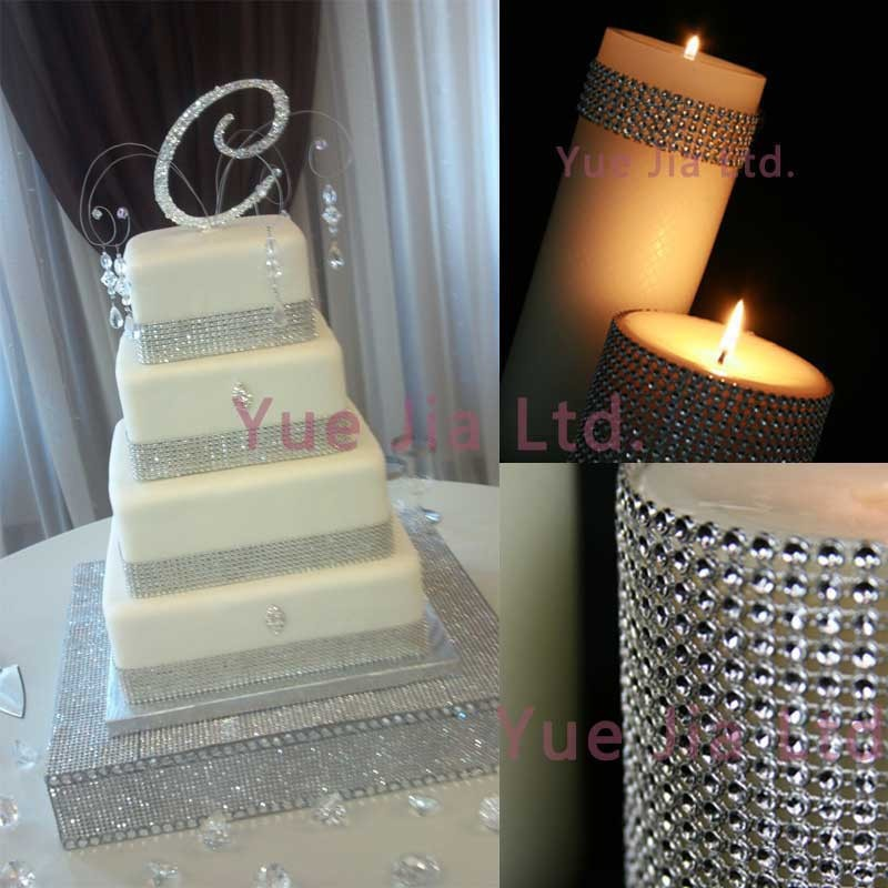1.55(8 Rows) x 30 Toes Silver Diamond Sparkle Rhinestone Wraps Ribbon Wedding Domestic Decor Wedding Present Wrapping Cake Add-ons-6.jpg