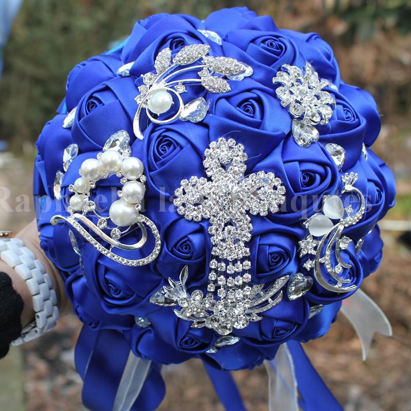 Luxury Royal Blue Diamond Wedding Bridal Bouquet Durable Crystal Brooch Wedding Bouquet Silk Rose Artificial Flower Color Custom(China (Mainland))