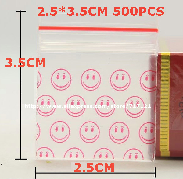 clear small zip lock plastic bags print smile pattern resealable mini ziplock bags 2.5*3.5cm 1''x1.4'' 500pcs free shipping(China (Mainland))