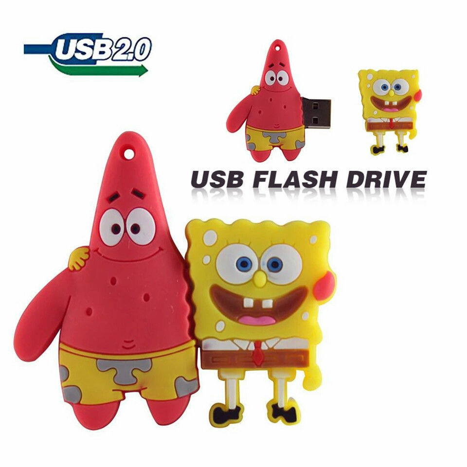 Cartoon Sponge bob Patrick USB 16GB 32GB 64GB 128GB 8GB 4GB 3D Figur TV Speicher Flash 100% Real Full Capacity for fast shipping(China (Mainland))