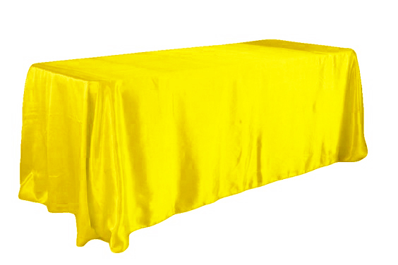 Yellow Color 5pcs/ Pack 90 x 132 inch Rectangular Satin Tablecloth Table Cover for Wedding Party Restaurant Banquet Decorations(China (Mainland))