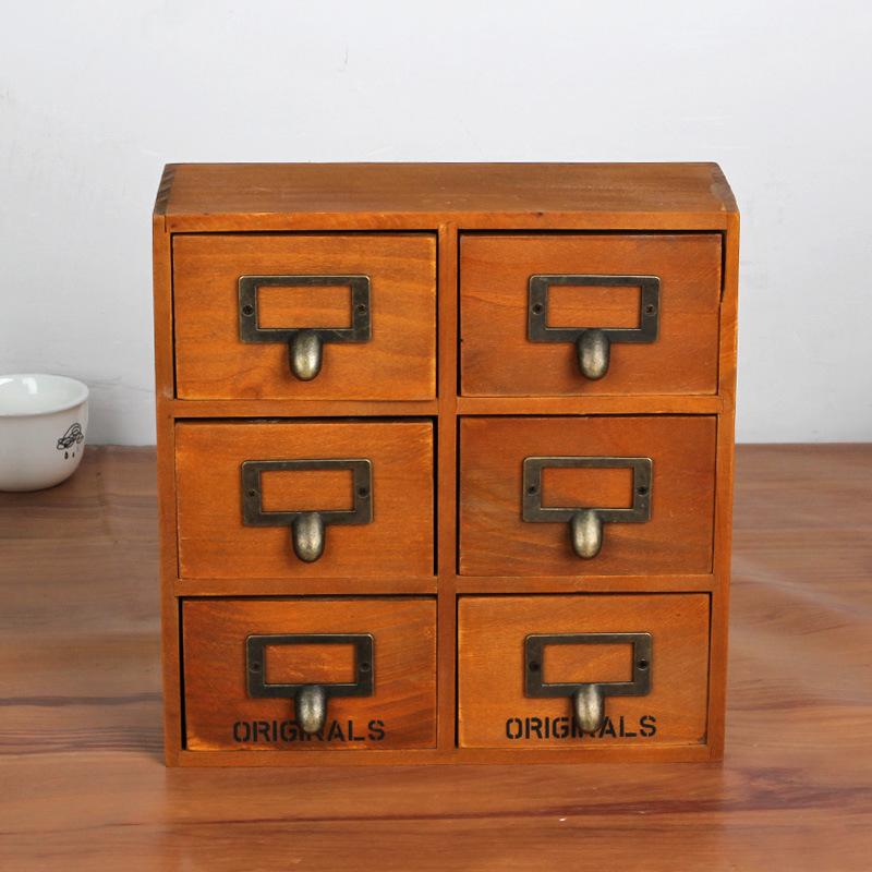 1PC 2016 Zakka multi drawer type wooden grocery retro wood cabinets wooden storage box with 6 drawers J0948(China (Mainland))