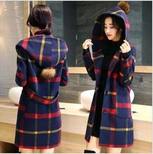 2016 fashion women tartan clothing long hooded coat girls jacket autumn winter overcoat for female fashion lady warm plaid coats