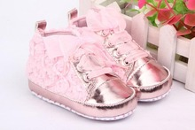Baby shoes New 1 Pair Baby Girls Toddler Shoes Rose Lace Soft Bottom Princess High Shoes First Walkers(China (Mainland))