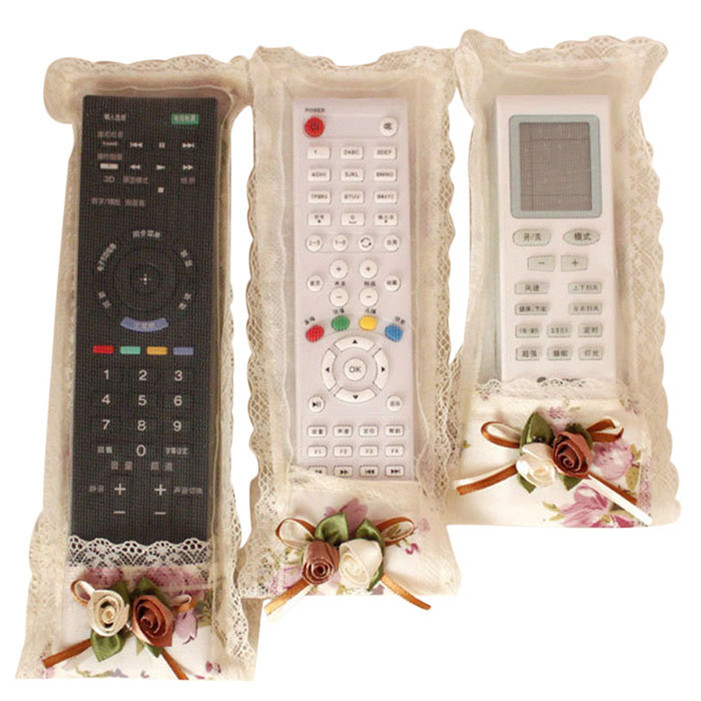 Stylish 2015 high quality 3pcs/lot Cloth Art Remote Control Sets Tv Air Conditioning Remote Control Dust Cover(China (Mainland))