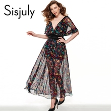 Buy Sisjuly Maxi Dress Black Floral Printed Dress Long Fashion Women Summer Dress Style Floral Print Maxi Dress for $8.06 in AliExpress store