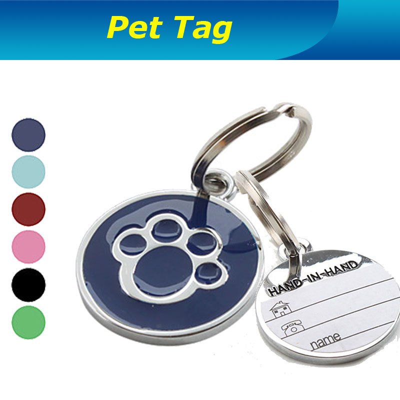 Factory Wholesale High Quality Dog Paw Style Round Dog Pets Identity Card Dog ID Tags Para Pets Name Phone Address Tag(China (Mainland))