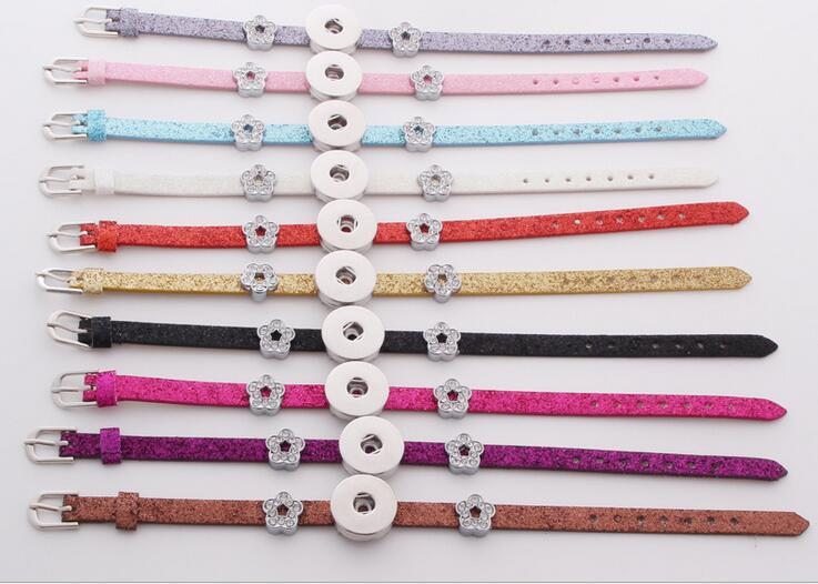 10color cheaper PU snap button bracelet fit 18mm button armband jewelry snap button B121 Free shipping(China (Mainland))