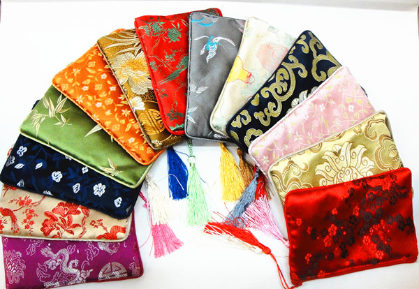 Gorgeous Zippered Cotton filled Large Decorative Gift bags Party Favors Tassel Satin Printed Storage Pouch 100pcs/lot mix color(China (Mainland))