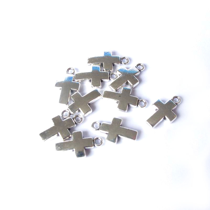 50pcs/lot Fashion Cross Pendant Accessories Silver plated DIY Handmade 17*10mm Jewelry Findings & Components Fit Bracelet DY078(China (Mainland))