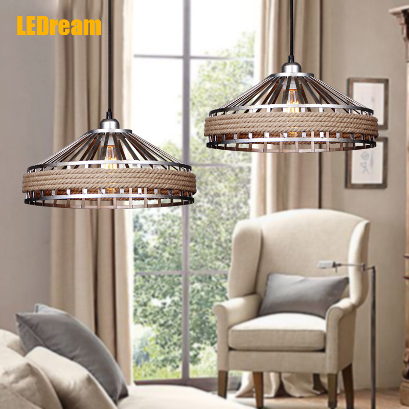 Creative hemp rope chandelier personality bar droplight American country retro single head droplight cafe table lamps<br><br>Aliexpress