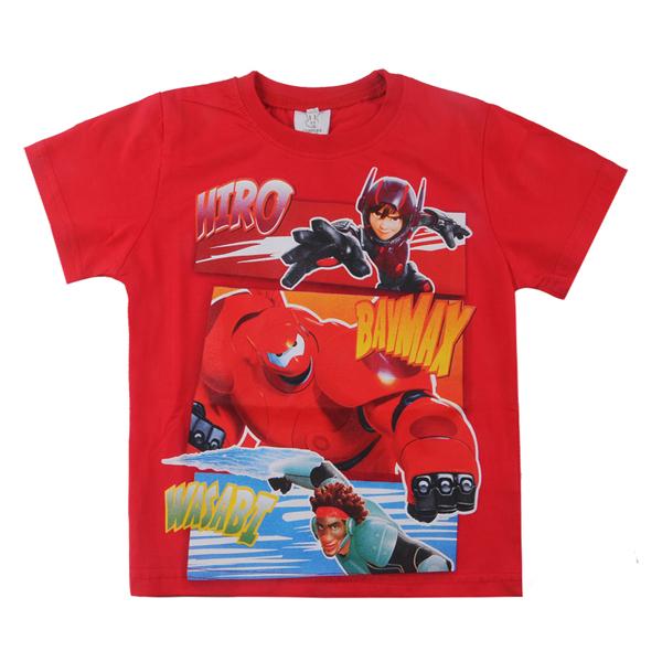 2015 New kids shirts boys tee fashion big hero print short sleeves t-shirt 100% cotton tees Baby boy tops - richeng wang's Digital store