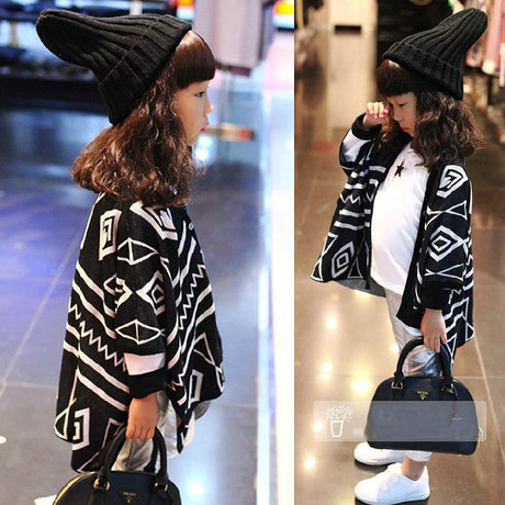 Baby Go Go Store Fashion Girl Geometric Shawl Cardigan Kids Knitted Coat for Children Girls(China (Mainland))