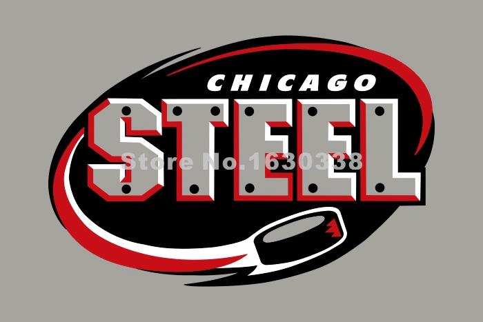 Chicago Steel Flag 3ft X 5ft Polyester United States Hockey League USHL Banner Size 4 144* 96cm Custom Flag(China (Mainland))