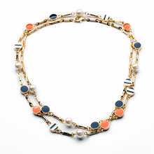 Fashion Long Design New Vintage Accessories Women Retro Enamel Crystal Long Necklace Women(China (Mainland))