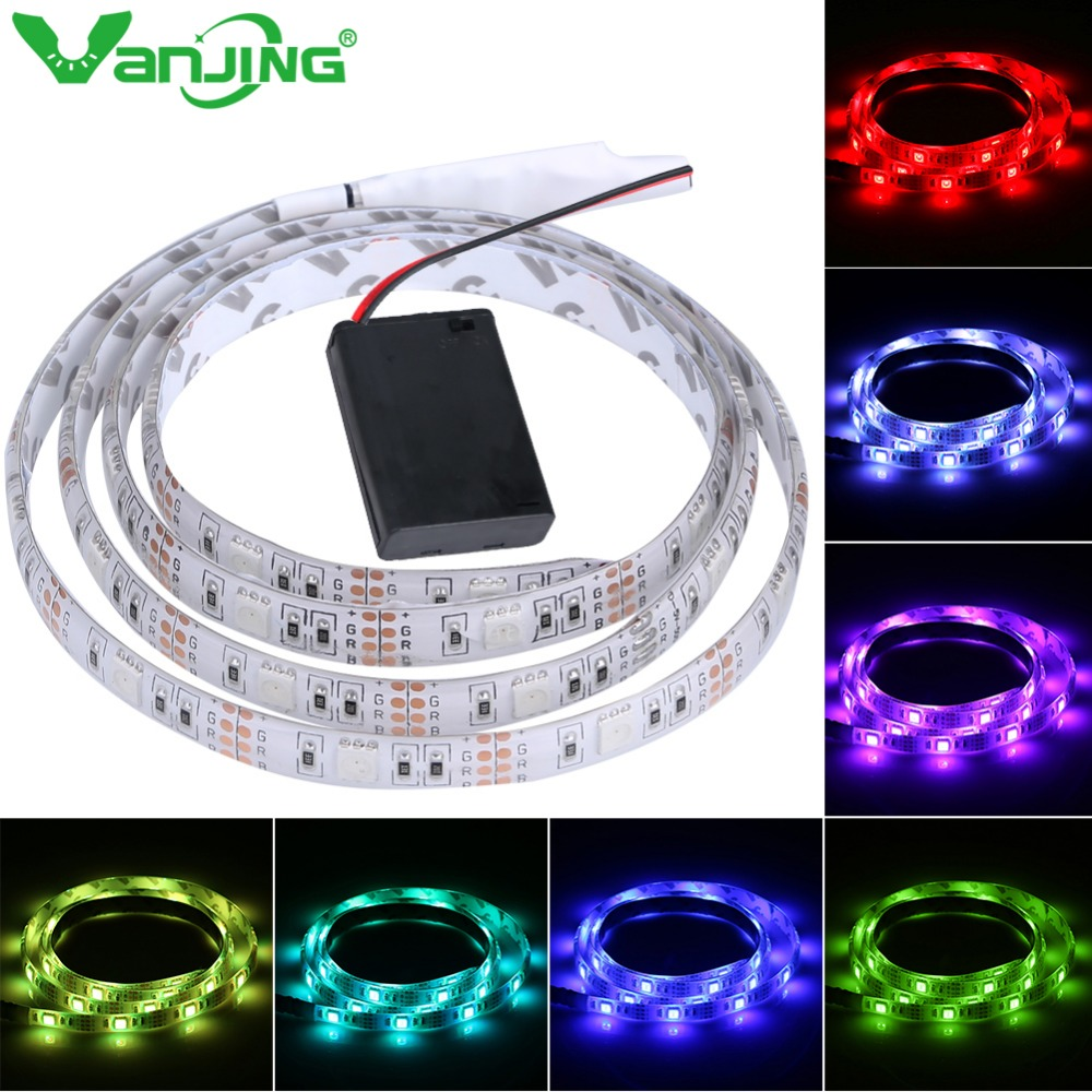 Battery Powered LED Strip 5050 SMD 2M 1M 30LEDS/M IP65 Waterproof LED Tape with Battery Box RGB/Cool White/Warm White Light(China (Mainland))