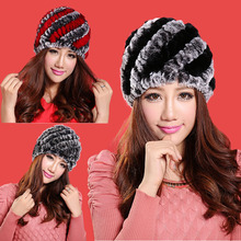 LIYAFUR Brand Russian Winter Knitted Rex Rabbit Fur Women's Hat Natural Rabbit Fur Hats Caps