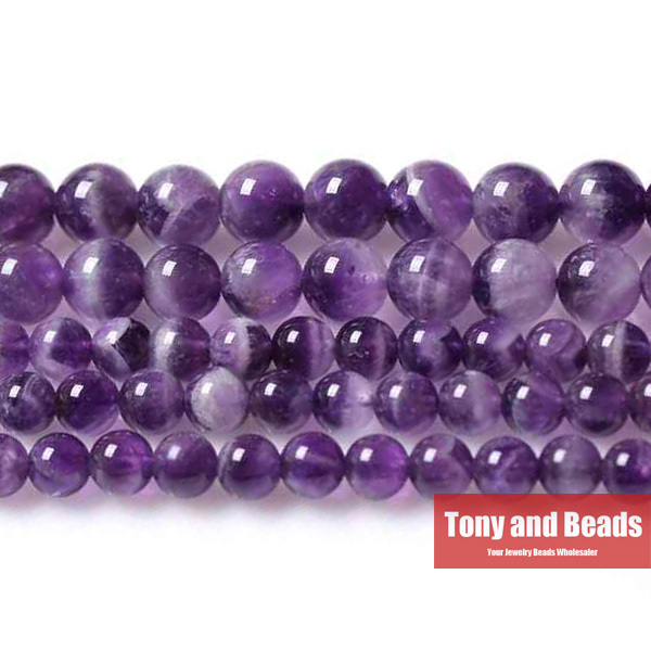 """Free Shipping Natural Stone Purple Amethyst Round Loose Beads 16"""" Strand 3 4 6 8 10 12MM Pick Size For Jewelry Making No.SAB11(China (Mainland))"""