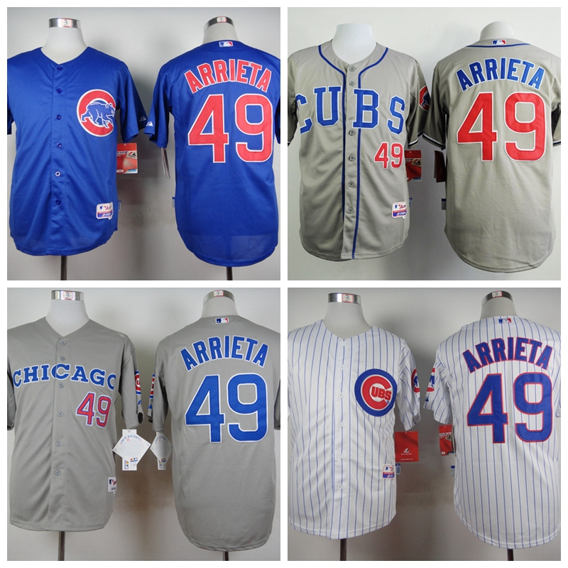 Lower Price Mens Chicago Cubs Jerseys #49 Jake Arrieta Baseball Jersey,Accept Retail And Mixed Order,Size M-3XL,Sewing Logos