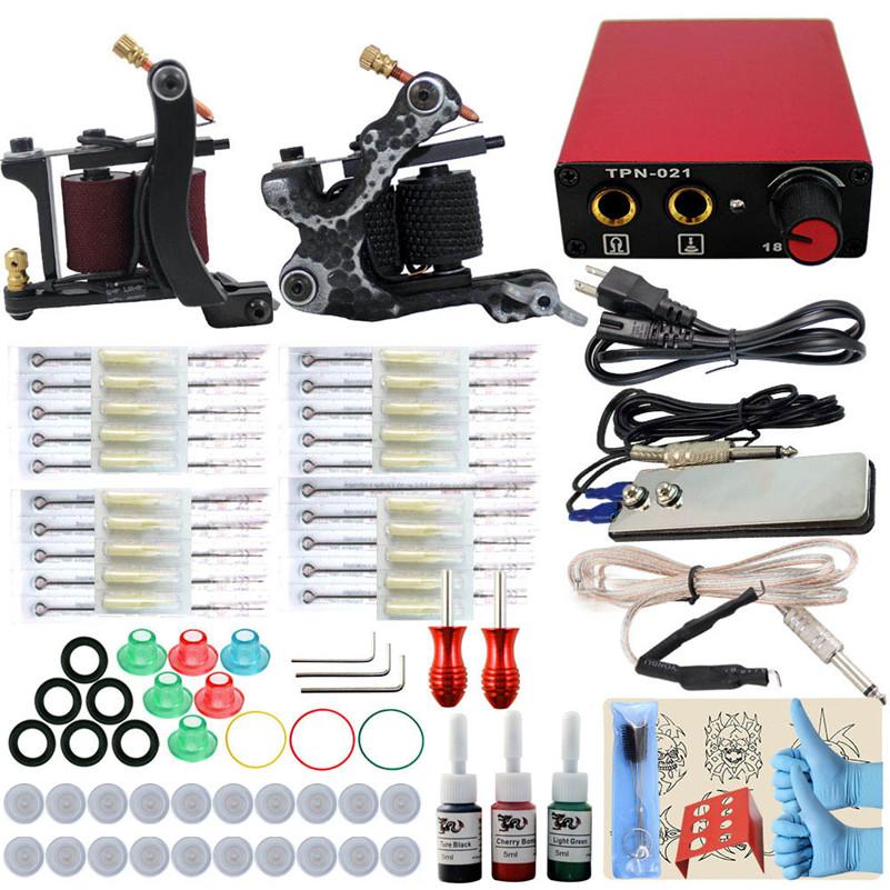 Фотография Complete Tattoo Machine Kit Set 2PCS Coil Machine Gun 3 Colors Inks Needles Grip Tips Power Supply For Permanent Makeup