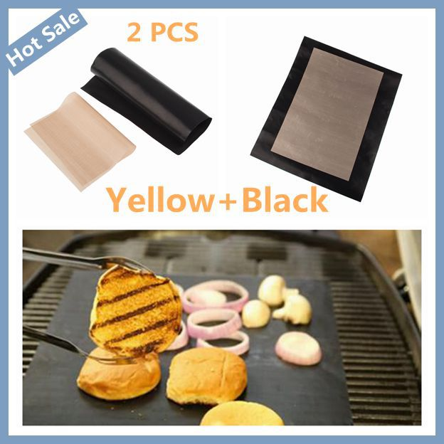 2Pcs Teflon BBQ Grill Mat one Black and one khaki BBQ mats for barbeque grill BBQ Accessories Free Shipping(China (Mainland))