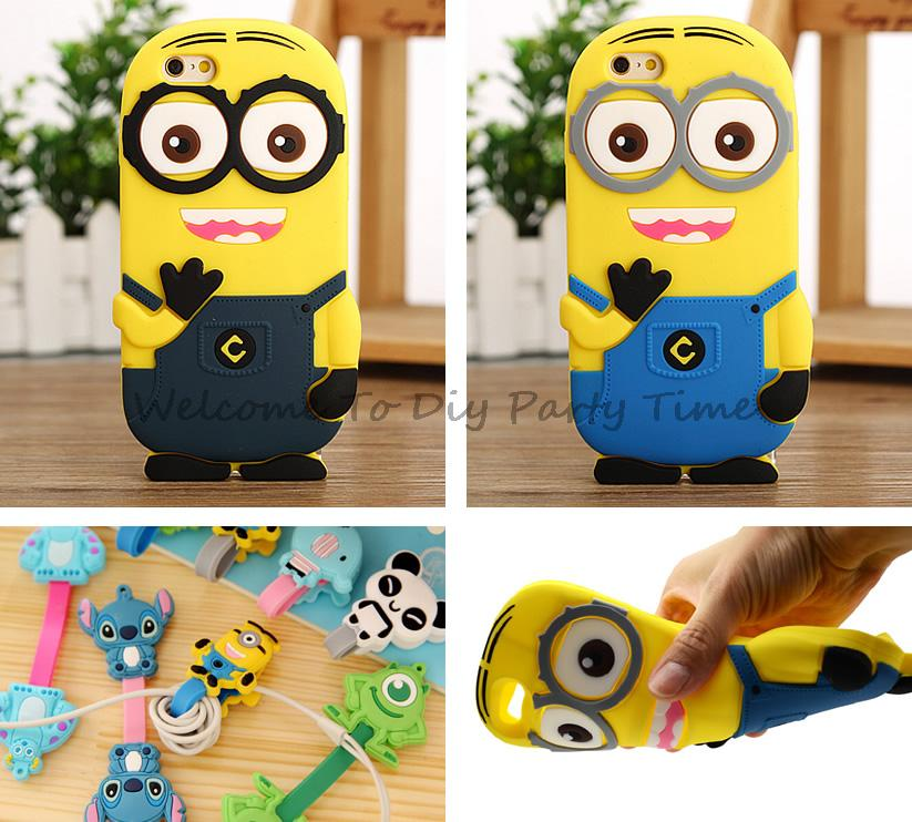 For Apple iPod Touch 4 4th Gen 3D Case Cover Silicone Rubber Despicable Me Minions Cute Lilo Stitch Cartoon(China (Mainland))