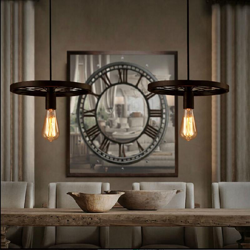 LOFT Vintage pendant lamp Wrought warehouse iron pendant light fixture The wheels chandeliers coffe  shop<br><br>Aliexpress
