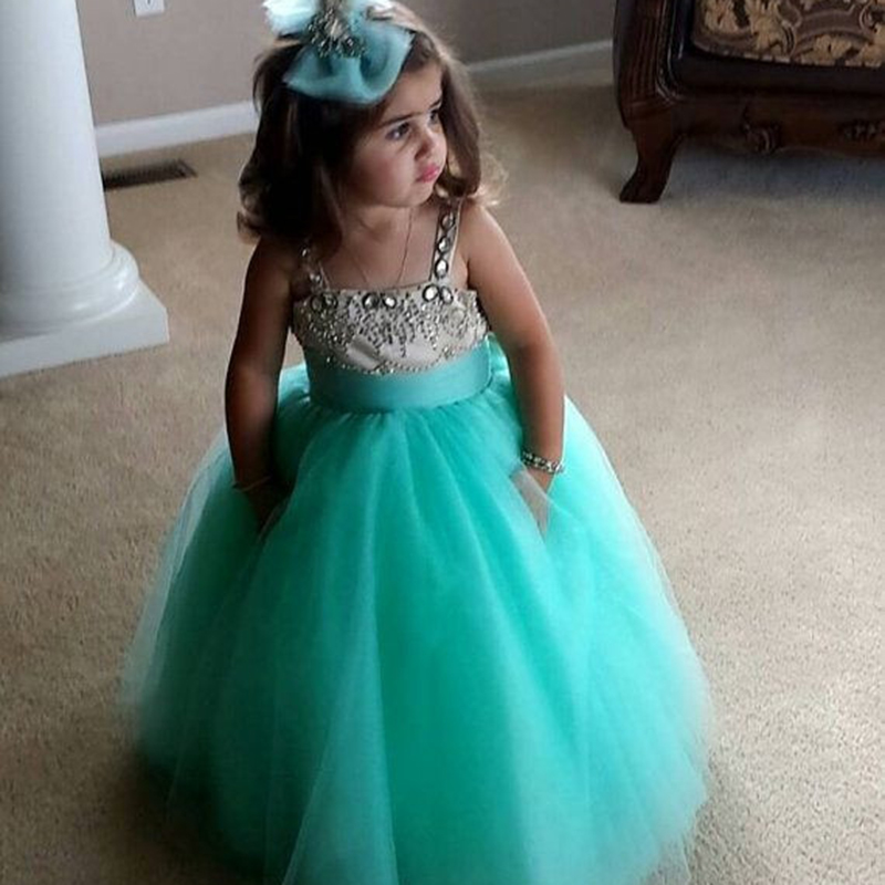 Lovely teal flower girl kids dresses with spaghetti straps for Teal dress for wedding