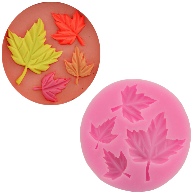 Nice Maple Leaf Silicone 3D Flower Mold Fondant Cake Decorating Tools Four Color Mould Silicone Soap Cooking Tools free shiping(China (Mainland))