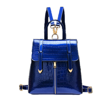 2016 Crocodile-Grained cute patent leather back bag Women school backpacks bags for teenagers girls,black/blue outdoor bagpack(China (Mainland))