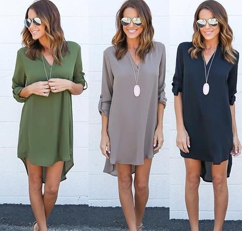 Gray Black Army Green Coffee Autumn Women Long Sleeve bodycon Chiffon Dress Vestidos Knee-length Irregular Blouse T Shirt Dress