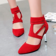 Women Pointed Toe High Heel Leather Shoes Gladiator Thin Heel Shoes Sexy Wedding Party Shoes Stiletto Shoes Size5-9.5