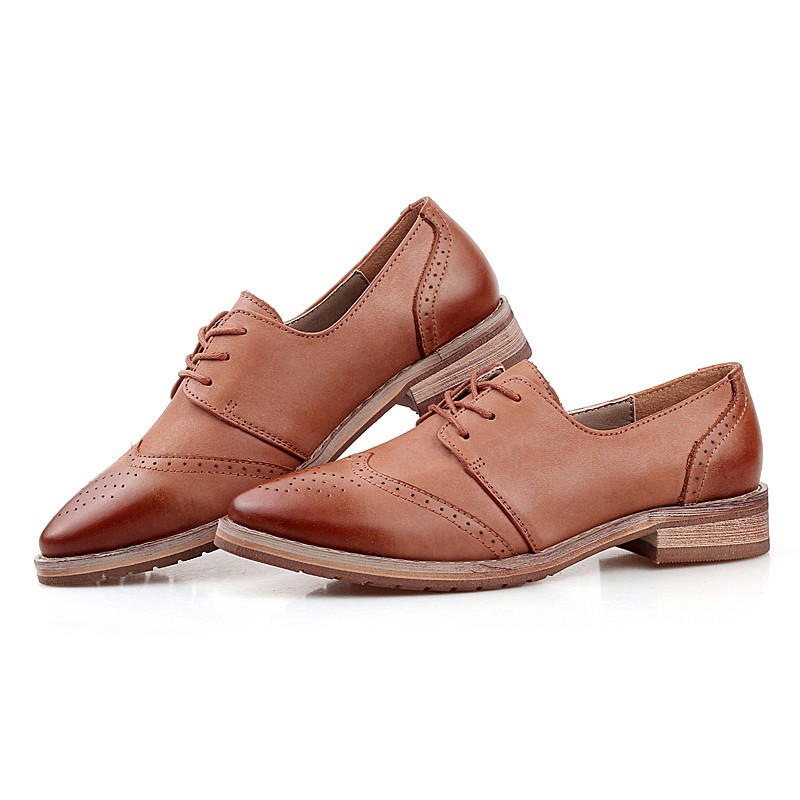 British Retro Genuine Leather Oxfords Shoes For Women Flats Lace Up Punch Carved Casual Full Brogues Shoes Woman Zapatos Mujer