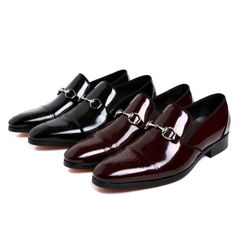 Fashion wine red /black summer loafers dress shoes mens party shoes patent leather business shoes mens wedding shoes with buckle(China (Mainland))
