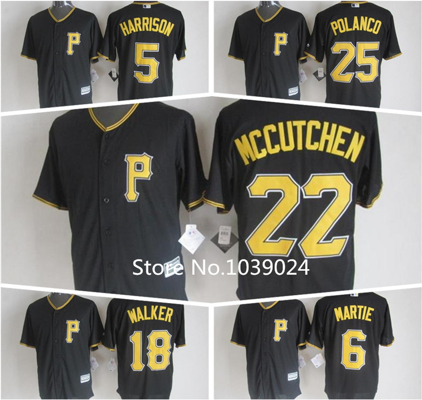 2016 Black 6 Starling Marte Pittsburgh Pirates Jersey Josh Harrison Jersey Neil Walker Polanco Andrew McCutchen Jersey New Black(China (Mainland))