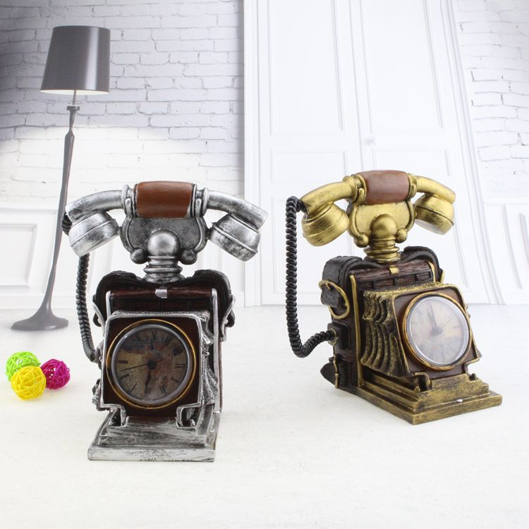 Vintage Telephone Alarm Clock and Piggy Bank Resin Ornaments Clock Crafts Home Decoration Furnishing Articles(China (Mainland))