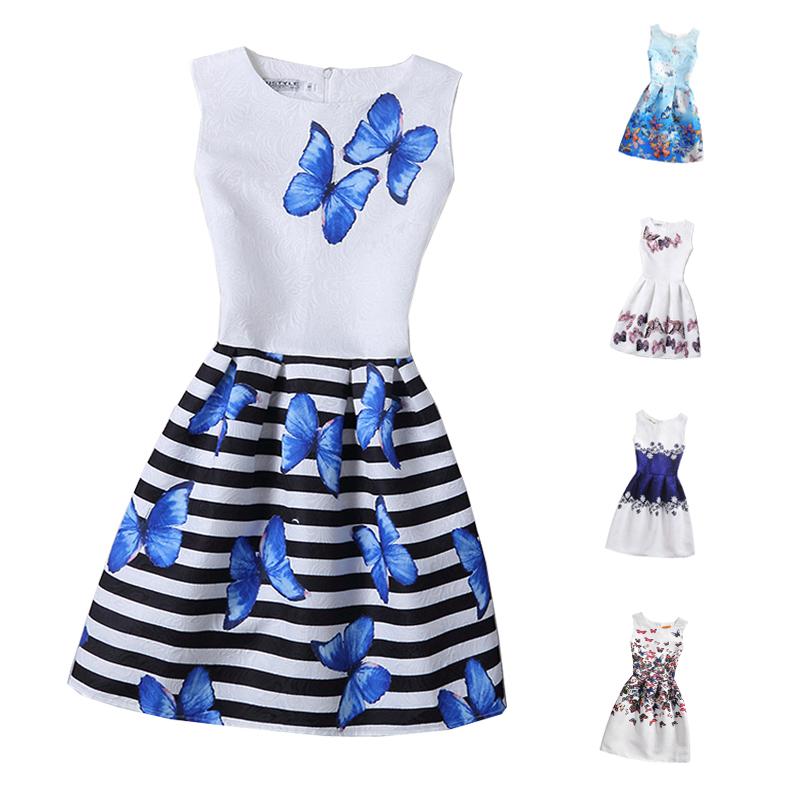 2017 Girls Dress Summer Butterfly Floral Print Teenagers Dresses for Girls Designer Formal Party Dress Kids Vestido 6-12Y(China (Mainland))