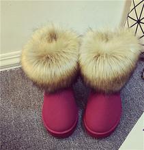 HEE GRAN Marca Zapatos de Las Mujeres Gruesas Botas de Nieve de Moda de Piel 2016 Nuevo Algodón de Invierno Zapatos Calientes Para Las Mujeres Botines XWX3265(China (Mainland))