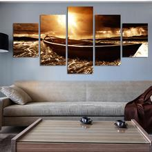 5 Panel Modern Prints Beach Seascape Painting Sea Boat Sunset Painting Cuadros Wall Picture For Living Room(No Frame)(China (Mainland))