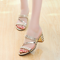 2016 Free Shipping summer shoes thick slipper toe with high heeled sandals slippers a rhinestone tide
