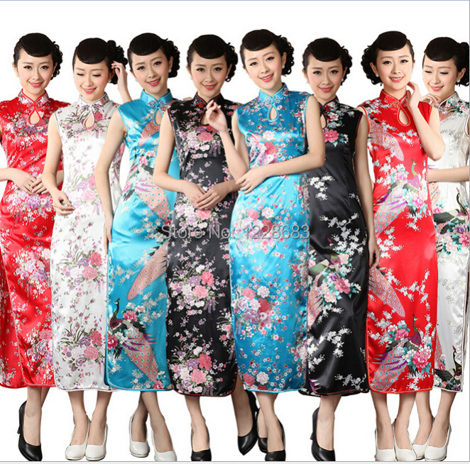High Quality Blue White Black Red Chinese Traditional Dress Long Qipao Pattern Traditional Cheongsam QipaoОдежда и ак�е��уары<br><br><br>Aliexpress