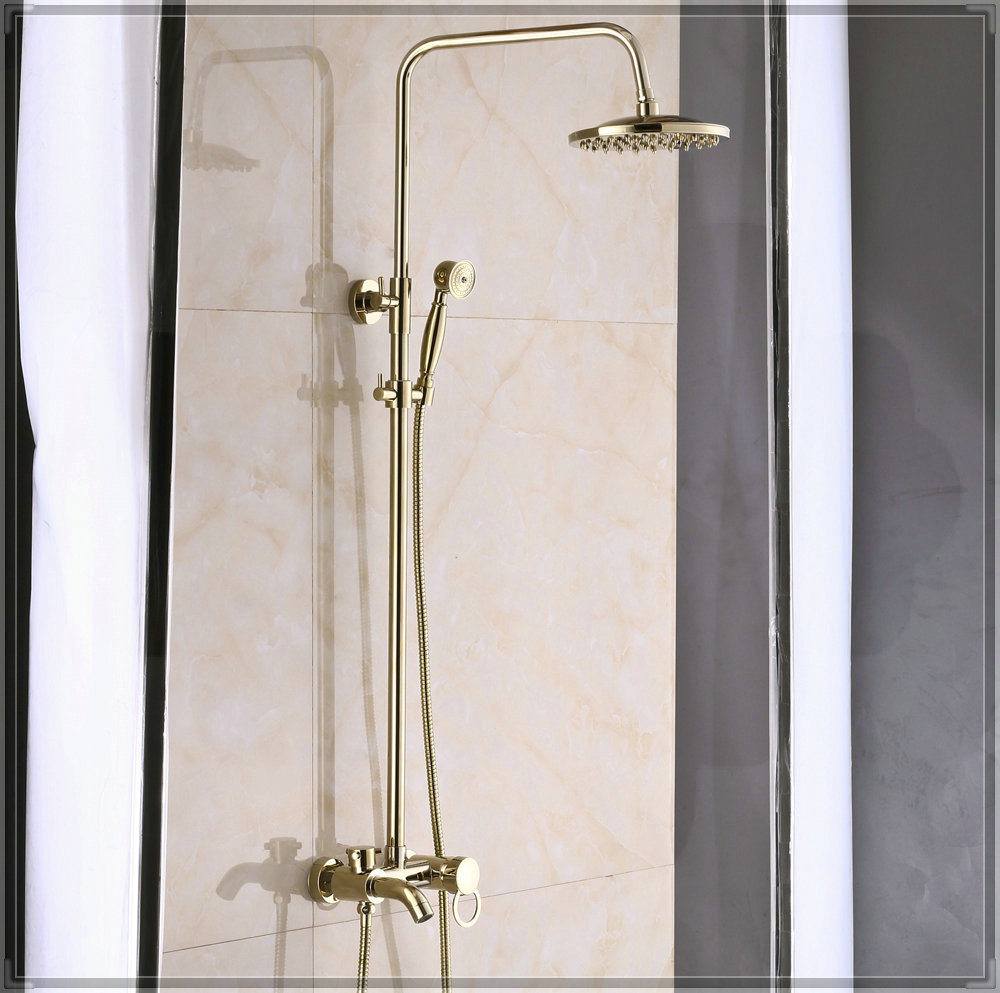 Gold Finish Bath 8 Inch Rain Shower Set Faucet Tub Mixer Tap With Hand Sprayer Water Bathroom