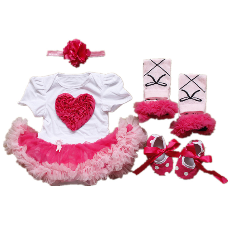 Newborn Baby girl clothes Rose Love Birthday dresses Short Romper Tutu Dress+Toddler Shoes+Socks+Headband Baby clothing 4pcs/set(China (Mainland))