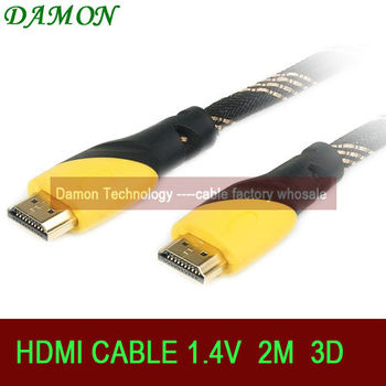 1pcs/lot HDMI cable 1.4 3D hdmi 2m with ethernet ps3 hdmi cable Full HD 1080p 4K*2K resulation for HDTV by China Post