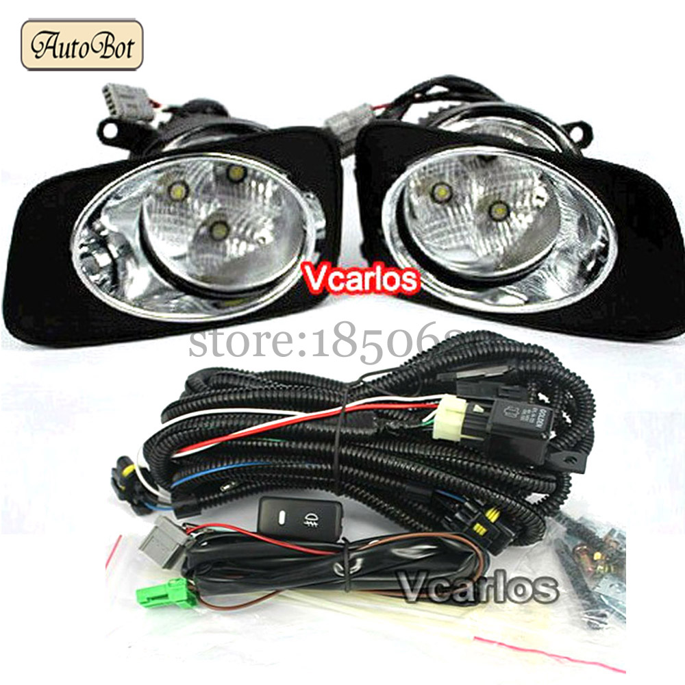 LED DRL Fog lights Lamp Toyota Corolla 2010 Corolla Axio 2007 Fielder 2007 Daytime Running Rights With Wiring Kit Fog Light Set(China (Mainland))
