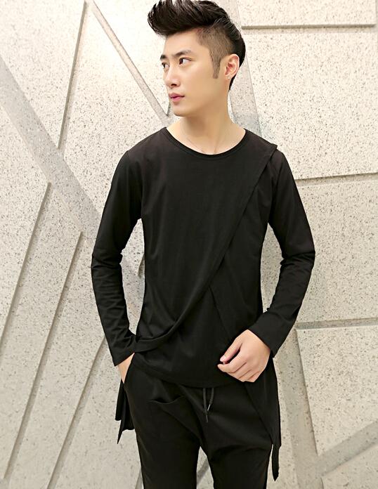 Fashion cool extra long gothic tshirts men long sleeve for Extra long mens dress shirts