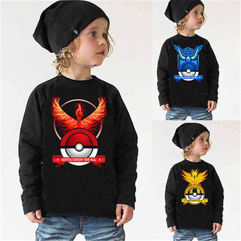 Hot Kids Boys girl long sleeve t shirt font b Pokemon b font Go Team Valor