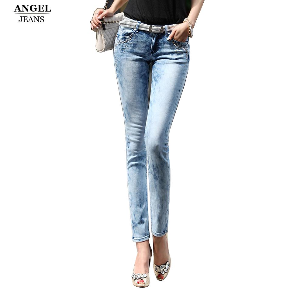 2016 New Fashion Women PantsPlus Size Stretch Skinny Low Waist Jeans Pants Women Blue Pencil ...