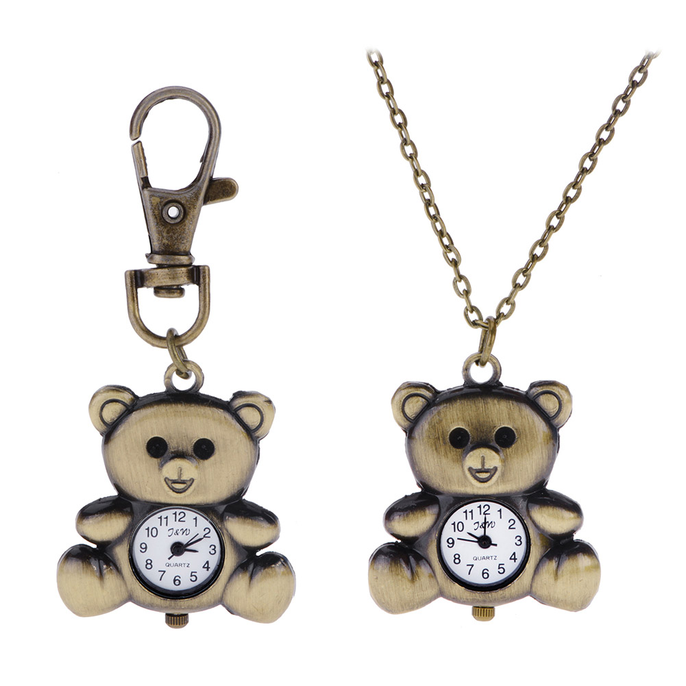 Cute Bear Pocket Watch Pendant Necklace Women Quartz Watches Vintage Pocket Watch Key Ring Key Chain Hot Sale(China (Mainland))