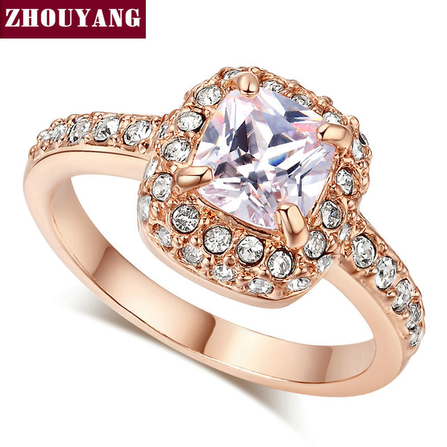 ZYR026 Four Claw  Rose Gold Plated Princess Cut Zircon Wedding Ring Genuine Austrian Crystals Full Sizes Wholesale